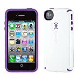 Speck CandyShell Glossy Case for iPhone 4/4S - White/Aubergine (New - Non-Retail Packaging)