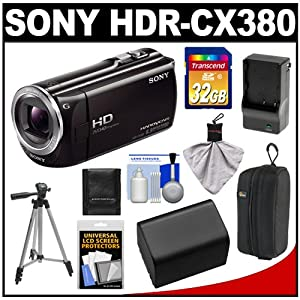 Sony Handycam HDR-CX380 16GB 1080p HD Video Camera Camcorder (Black) with 32GB Card + Battery & Charger + Case + Tripod + Accessory Kit