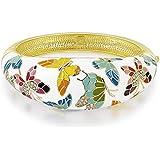 【Meilleurs Cadeaux】P&M Cristal Printemps a Versailles Bracelet femmes filles Bijoux fantaisie plaque or jaune Dessin de papillon colore email blanc soiree cadeau ideal