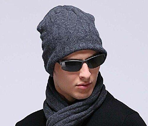 Dessus-100-laine-Cachemire-laine-dagneau-hommes-de-sport-dhiver-Bonnet-chasse-pche-casquette-Big-supprise-3-Couleur-Noir-bl-gris