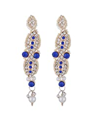Bel-en-teno White & Blue Alloy Earring Set For Women