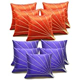 Bloom Rays Cushion Covers Combo Rust & Blue 40 X 40 Cms(10 Pcs Set)