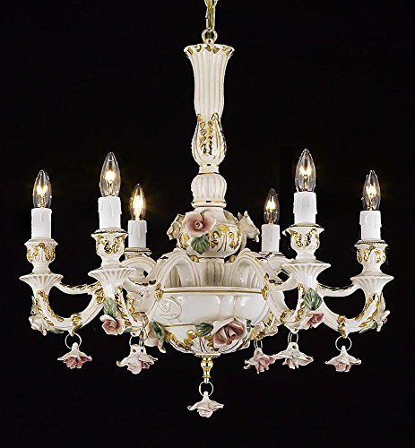 Authentic Capodimonte Porcelain Chandelier Lighting Chandeliers Lighting Cottage Chic Made in Italy, Good for Dining Room, Kids & Girls Bedrooms 24K Gold Trimmed w/ Roses & Flowers