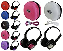 buy 2 Pack Kid Sized Wireless Infrared Universal Car Dvd Ir Automotive Colored Adjustable 2 Channel Headphones With Case And 3.5Mm Auxiliary Cord