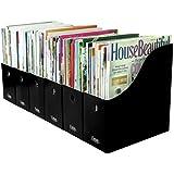 Evelots Set of 6 Magazine/File Holders Bin Home Office Desk Organizer, Black