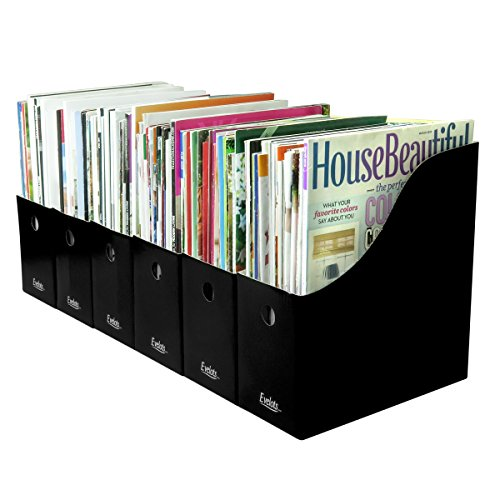Evelots 6 Magazine/File Holders & Adhesive Labels,Assorted Colors & Styles,Black