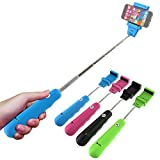 Extendable Handheld Bluetooth Monopod - Zaza Selfie Stick for Iphone, Samsung, IOS, Android - Adjustable Clip Fits Most Phones (Blue)