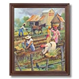 African American Black Working The Field Sharecroppers Wall Picture Cherry Framed Art Print