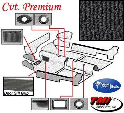 Premium VW Front Carpet Kit, Black Loop, w/ Footrest, Beetle/Super Convertible 1973-1979 (Vw Super Beetle Parts compare prices)