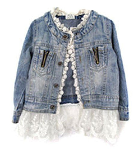 Girls Kids Lace Cowgirl Coat Jacket Denim Top Button Costume Outfits 2-7T