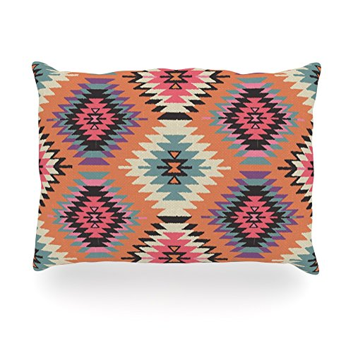 "Kess Inhouse Amanda Lane ""Navajo Dreams"" Orange Pink Oblong Rectangle Outdoor Throw Pillow, 14 By 20-Inch front-992093"