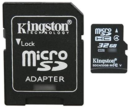 Kingston 32GB MicroSDHC Class 4 Memory Card (With Adapter)
