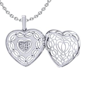 Ze Sterling Silver 1/5ct tw Diamond Heart Locket