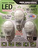 Feit Electric - 60 Watt Replacement - Omni Directional - LED Dimmable - 3 Pack (144799)