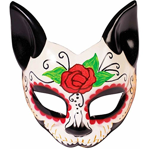 Day of the Dead Cat Eye Mask - One Size