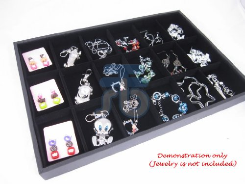 18 Compartment Black Velvet Liner Protable Jewellery Utility Display Case / Tray