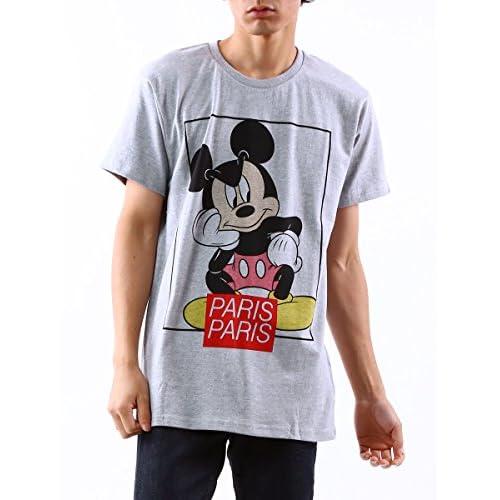 (イレブンパリ) Eleven Paris ディズニー ミッキーマウス 半袖 Tシャツ メンズ Tシャツ ブランド プリント ストリート 【14F1T107】 グレー / M