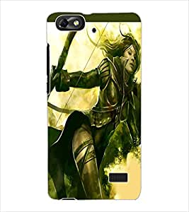 ColourCraft Warrior Girl Design Back Case Cover for HUAWEI HONOR 4C