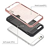 iPhone 6S Plus, iPhone 6 Plus, Dual-layer Heavy Duty Matte Rugged Protective Cover Case with Credit Card Slot Holder for Apple iPhone 6S Plus iPhone 6 Plus by Cazle (Rose Gold)