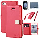 Case for Iphone 4s ,Case for Iphone 4s, By Ailun,Wallet Case,PU Leather Case,,Cut,Credit Card Holder,Flip Cover Skin,(Red), with Screen Protect and Styli Pen