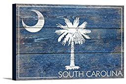 South Carolina State Flag - Barnwood Painting (36x24 Gallery Wrapped Stretched Canvas)