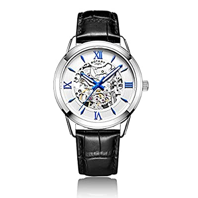 Rotary Men's Automatic Watch with Silver Dial Analogue Display and Black Leather Strap GS00651/21