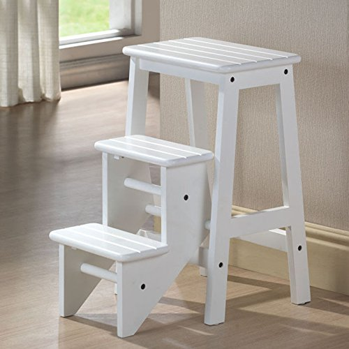 Folding Step Stool 24 Chair Ladder Platform White Hard Wood Kitchen Home Ebay