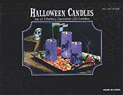 Halloween Led Candles St of 3 (Purple)