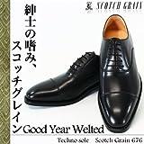 va- 0676-rort ビジネスシューズ スコッチグレイン ストレートチップ メンズ 紳士靴 革靴 軽量 防水 ブラック(Black) 25.5cm