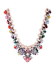 Angelic Floral Peral Crystal Floral Hand Woven Short Necklace