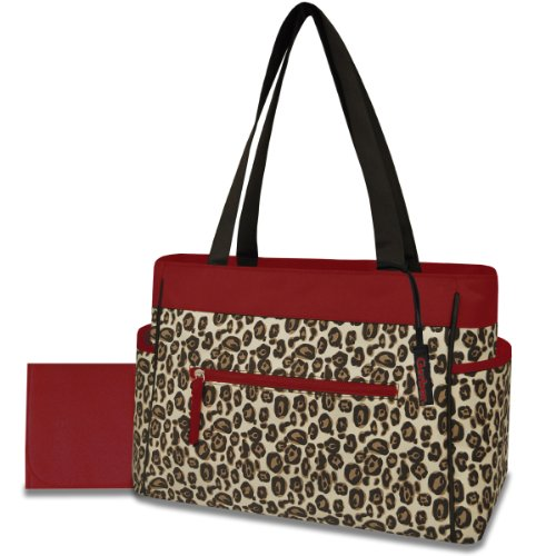 Gerber Diaper Tote Bag, Red Trim Cheetah front-261681