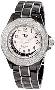Lucien Piccard Women's 27119BK Celano Mid Size Automatic Diamond Accented White and Black Textured Dial Black Ceramic Watch