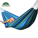❂ We Hammock™❂ Cozy Brazilian Hammock ❂ Super Sturdy Outdoor Single Nest ✔Portable ✔Attractive ✔Extremely Soft Fabric ✔Comes with Heavy Rope ✔Extra Durable [Seatopia Blue Color] ❂