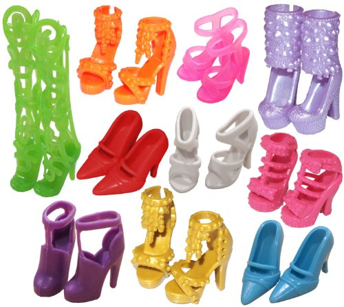 10 Pairs of Doll Shoes, Fit Barbie Dolls (Exactly
