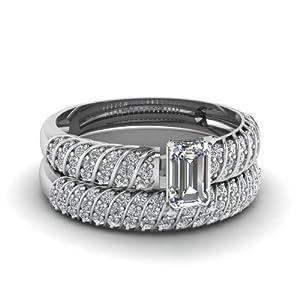 Fascinating Diamonds 1.20 Ct Emerald Cut Diamond Rope Design Wedding Engagement Rings Pave Set VS2-E GIA