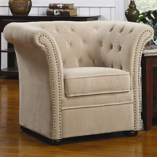 accent chair with button tufted nail head trim in natural beige finish