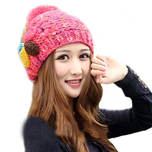demarkt-lady-girls-fresh-colour-flower-beanie-beret-warm-winter-knitted-hat-cap-red