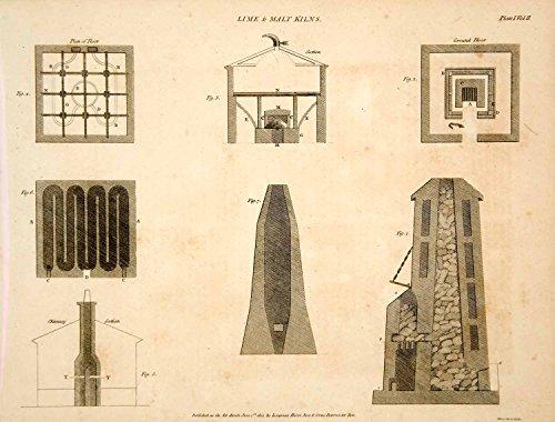 1807 Copper Engraving Lime Malt Kiln Oven Stove Farm Building Blueprint Tcf2 - Original Copper Engraving
