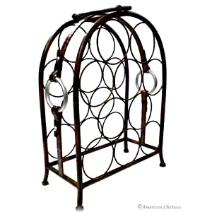 10 bottle metal wrought iron wine rack holder stand home kitchen - Wine racks wrought iron floor standing ...