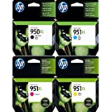 Genuine HP 950XL-951XL Black and Color 4-Pack Combo Ink Cartridges in Retail Packaging! USA Market only! Not EU or Grey Market Foreign Imports!
