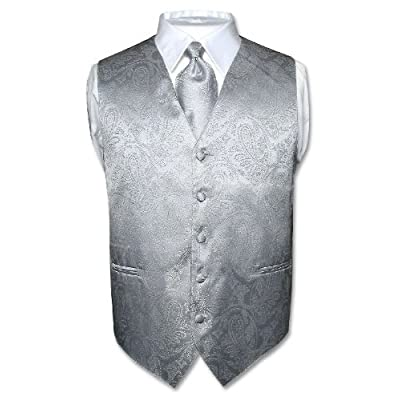 Men's Silver Paisley Design Dress Vest and NeckTie Set for Suit or Tuxedo