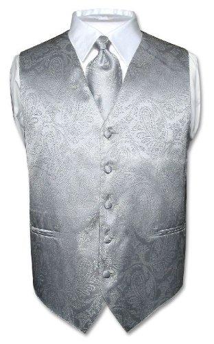 Men's Paisley Design Dress Vest NeckTie SILVER GREY Neck Tie Set for Suit or Tux (VP0104) $19.95