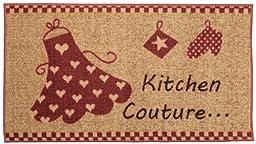 Kitchen Couture Red Ivory Non-Slip Kitchen Rug (Non-Skid) Kitchen Mat Rubber Back Rug 18\