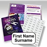 120x Personalised Garment Stickers, STIKINS® Label Planet®, Children's School Uniform/Clothes/Clothing Labels Tags Tapes For Kids/Children, New Stick In Name Labelling NO NEED TO IRON ON/SEW/MARKER PEN, Adhesive Vinyl For School Wear, Message Name To Be Printed