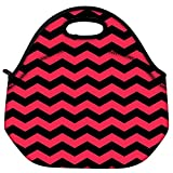 Snoogg Black And Pink Waves 2568 Travel Outdoor Carry Lunch Bag Picnic Tote Box Container Zip Out Removable Carry Lunchbox Handle Tote Lunch Bag Food Bag For School Work Office