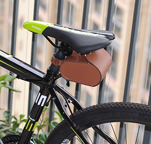 Mountain Bike Vintage Hardness PU Saddle Bag Brown 1
