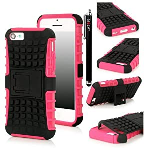 M-LV iPhone 4S 4 4G Hybrid Dual Layer Hard and Soft High Impact Armor Defender Kickstand Case Combo M-LV Stylus with 1 and Microfiber Digital Cleaner - Hot Pink