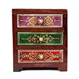 Home And Bazaar Traditional Wooden Antique Hand Painted 3 Drawer Chest Size 5.5x4.5x7Inch / 13.75x11.25x17.5Cm - B016J8SZQ2