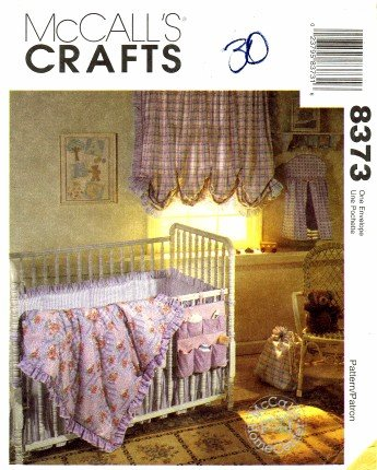 McCall's 8373 Sewing Pattern Baby Crib Comforter Ruffle Bumper Curtains Laundry Bag (Baby Crib Bedding Sewing Patterns compare prices)