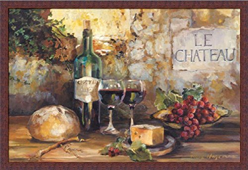 buyartforless IF WAP 6074 36x24 2 Wnut Plexi Framed Le Chateau by Marilyn Hageman 36X24 Art Print Poster Wall Decor Wines Cheese Grapes Bread Country Tuscan (Cheese Wall Art compare prices)